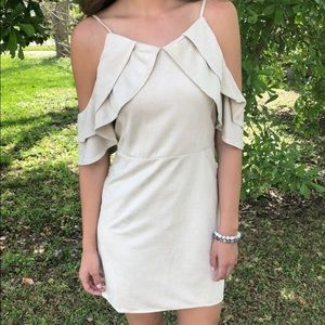 Cream Suede Ruffle Dress